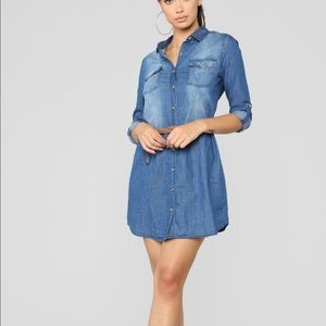 NEVER WORN. Denim dress. Comes with the belt.